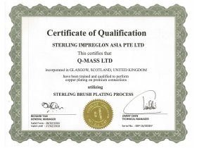 Q-Mass Copper coating certificate of qualification 28-02-16 to 27-02-18